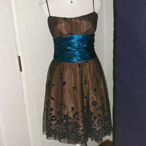 Masquerade blue sparkling flowers brown dress